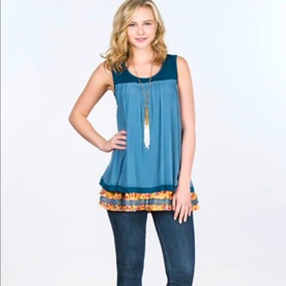 Matilda Jane SM Tank Tiered Blue New Without Tag